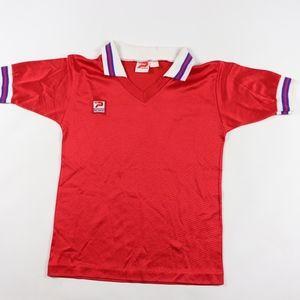 80s New Patrick Mens Medium Soccer Jersey Red